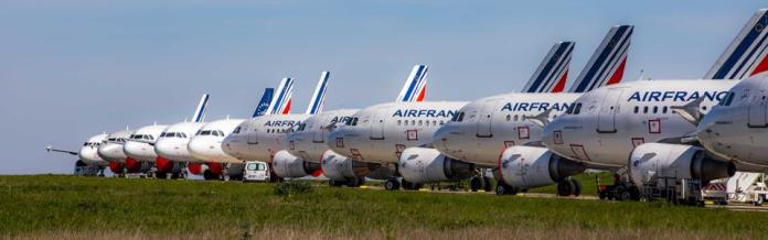 Air France planes parked in Roissy