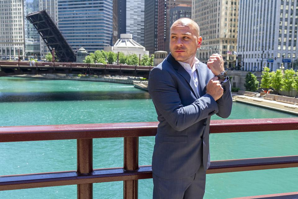 Anthony on a bridge in Chicago