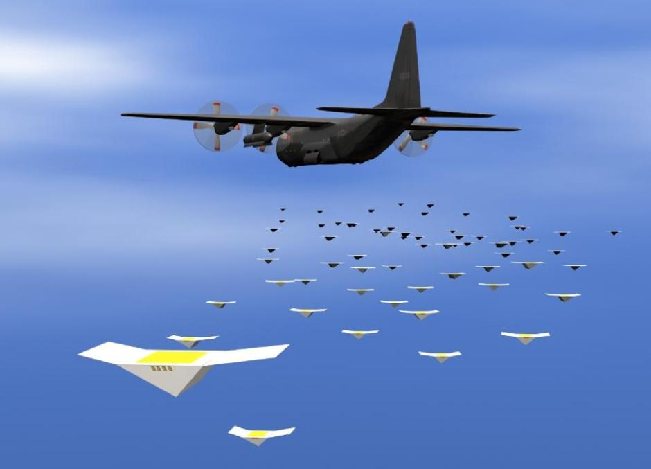 A transport aircraft releasing a swarm of paper planes