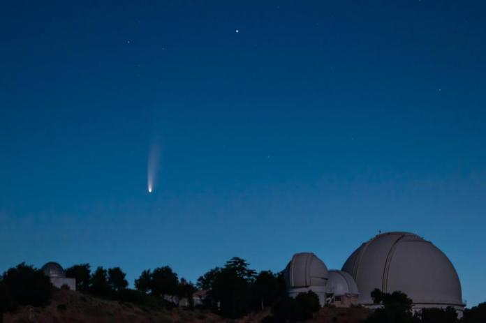 Comet NEOWISE photographed above the Lick Observatory on July 7, 2020.