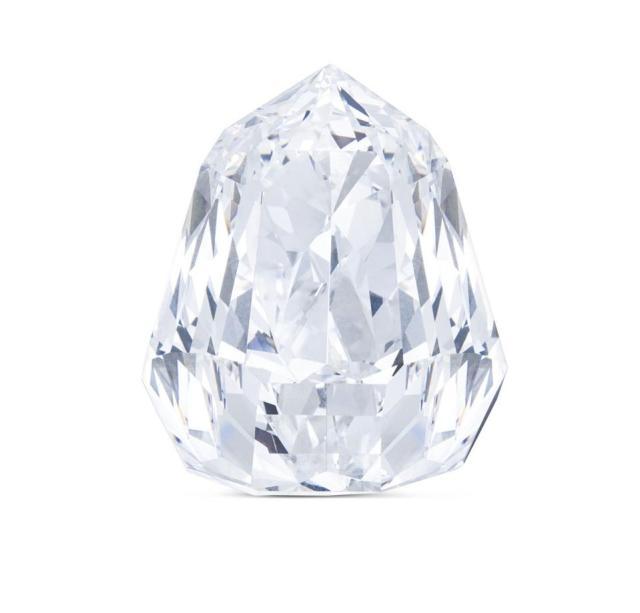 An unmounted, D-color 100.85-carat diamond with an estimate of $3.7 million - $4.7 million