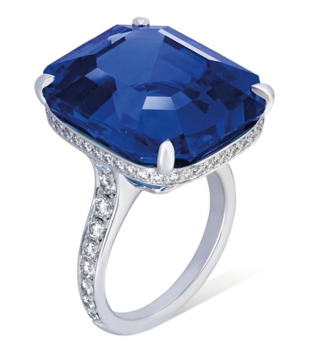A 36.88-carat Ceylon sapphire on a ring with an estimate of $424,365 - $530,456
