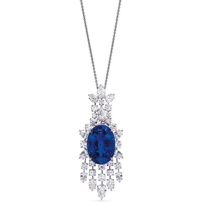 Diamond necklace with a 39.59-carat oval sapphire pendant. Estimate: $636,548 - $848,730)