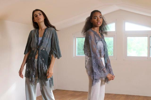 Hand dyed lace top by Lulu Tan Gan for New Mood