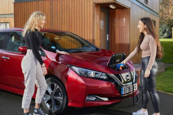 Two women are laughing while plugging in the charging for their Nissan Leaf EV.