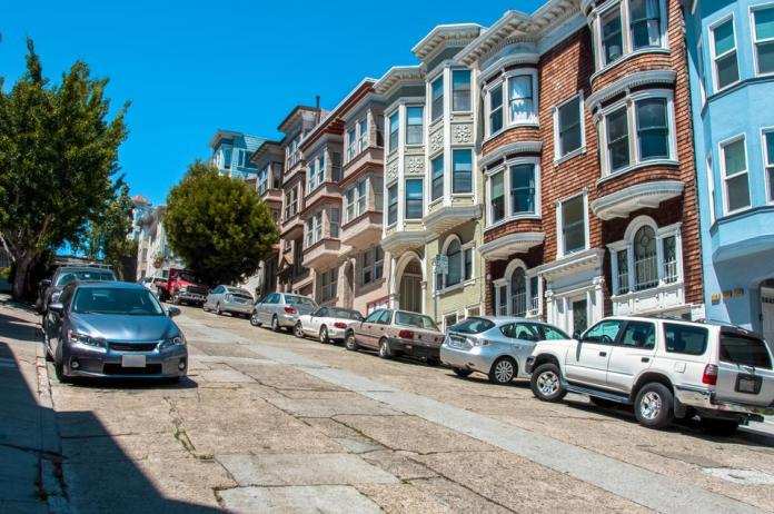 Hilly street in San Francisco, California, USA