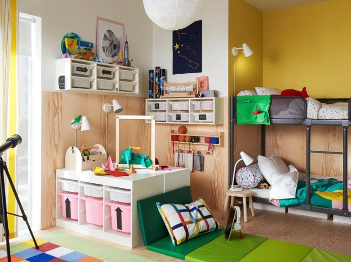 Organized bedroom for two children