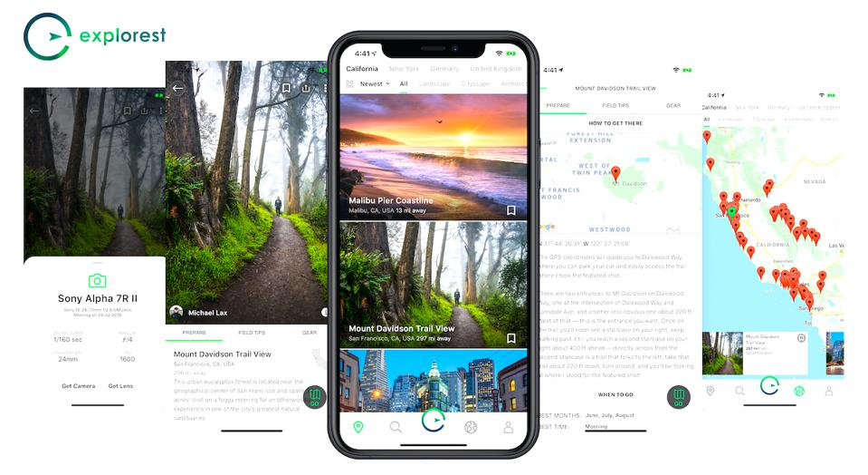 Explorest Instagram travel photography app interface