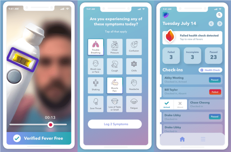 Image of Fever Free app features including (L) at-home temperature check video, (C) symptom reviewer, and (R) attendance check-in.