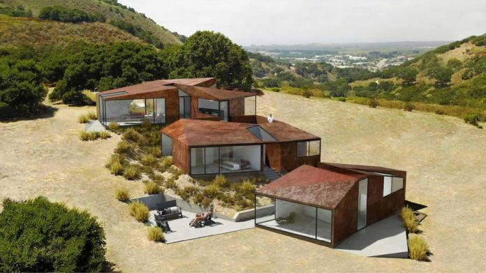 A multi-level home that mimics the irregularity of the topography.