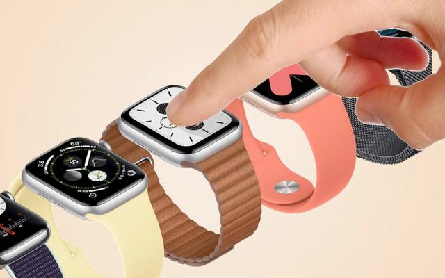 A composite image of a hand and an Apple Watch.