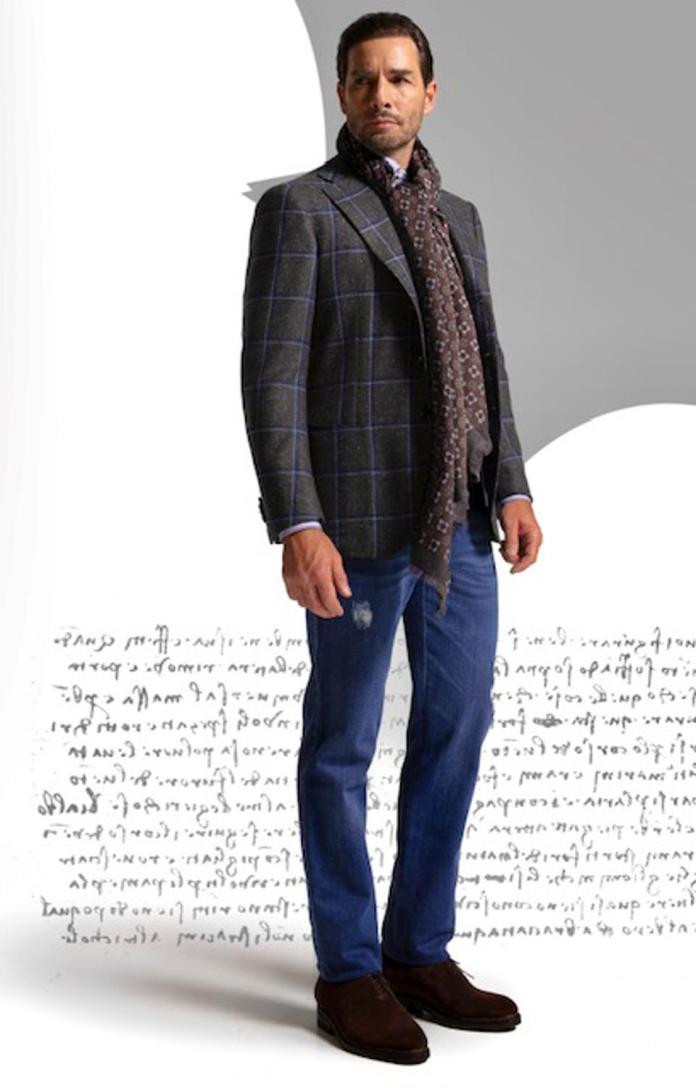 Cesare Attolini: handmade exclusive windowpane Jacket $6900; Cashmere blend scarf- $995 and Handmade denim with stretch- $1450