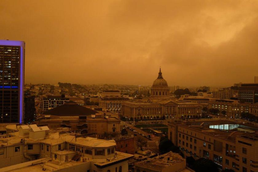 Orange sky over San Francisco