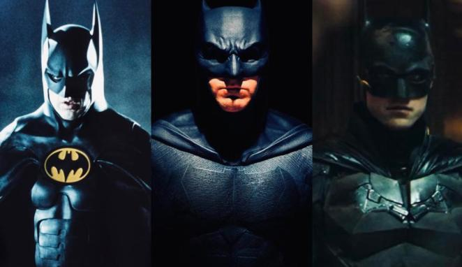 Micheal Keaton, Ben Affleck, and Robert Pattinson as Batman across the years