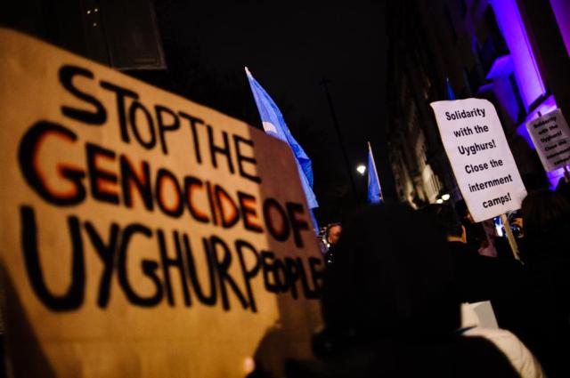 Uighur Rights Activists Demonstrate Outside Chinese Embassy In London