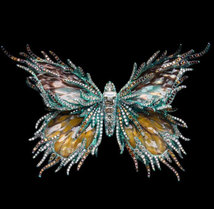 Diamonds and titanium help create this jewelry.