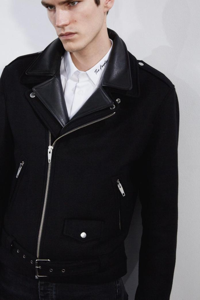 The Kooples Black Wool Jacket With Leather Insert  Image