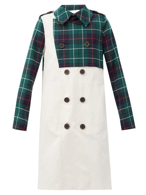 Duncan tartan-panelled wool-twill trench coat