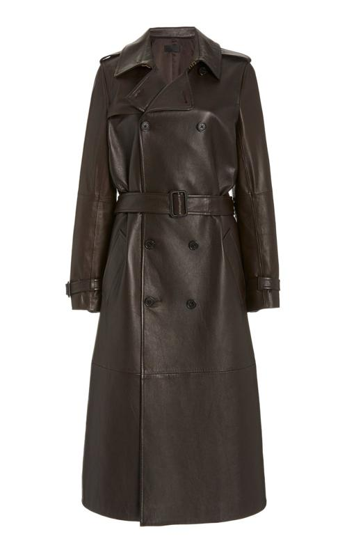 Alexander Leather Double-Breasted Trench Coat by Nili Lotan