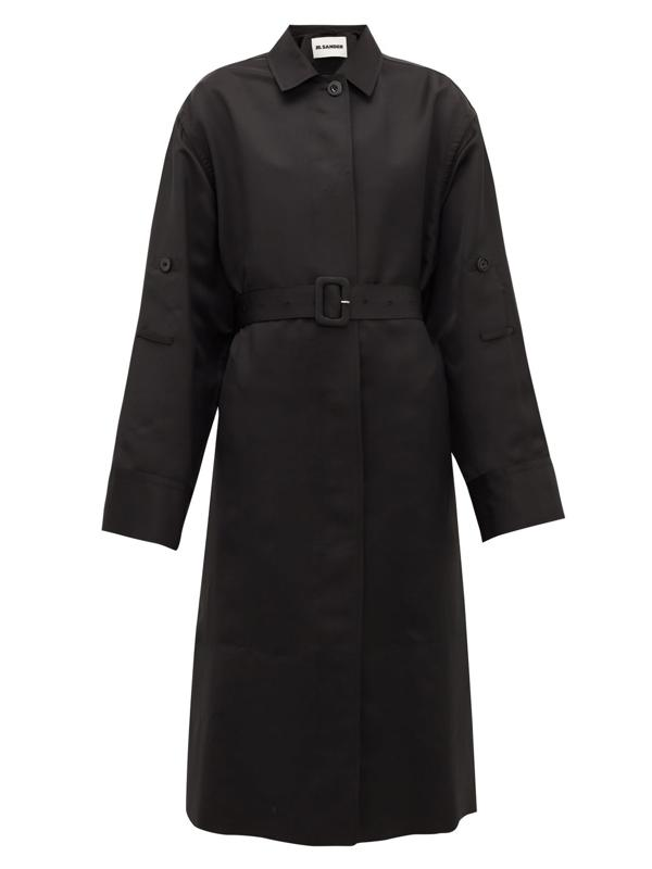 P.M. Belted Technical-Twill Trench Coat by Jil Sander