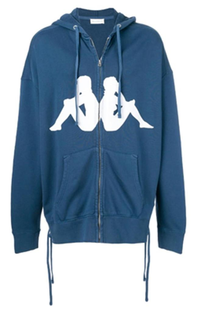 Men's zip up, navy hooded sweatshirt made of 100% cotton.