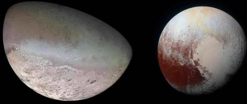 Triton, at left, as imaged by Voyager 2, and Pluto, at right, as imaged by New Horizons.