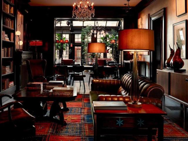 Dark, intimate and plush interior at the Maker Hotel in Hudson, NY exudes European charm.