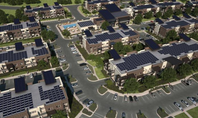 Render of a 600 unit apartment complex with rooftop solar.