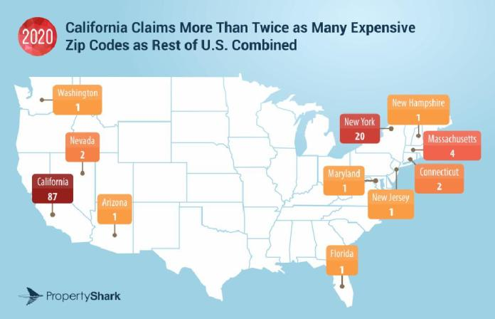 Map of the most expensive Zip codes