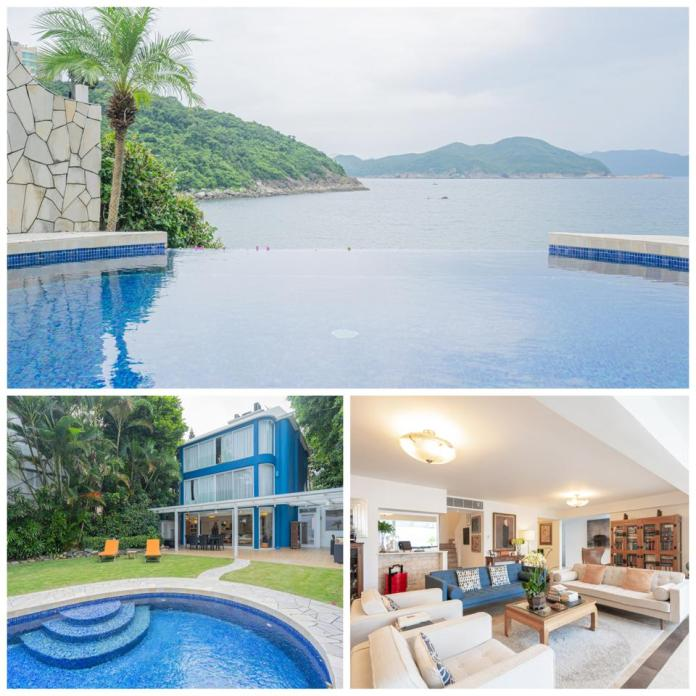 A collage of indoor and outdoor photos of an oceanfront home in Hong Kong.