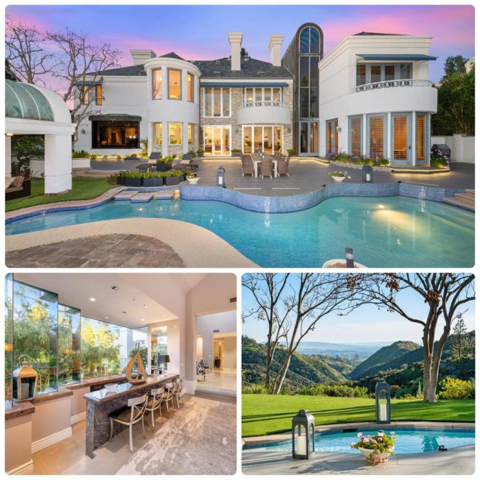 A collage of photos showing the interior and exterior of a home in Bel-Air, Calif.