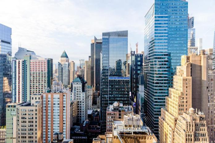Aerial view of skyscrapers in New York City, USA