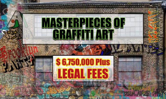 A building with graffiti art on it and a $6.75 million price tag.