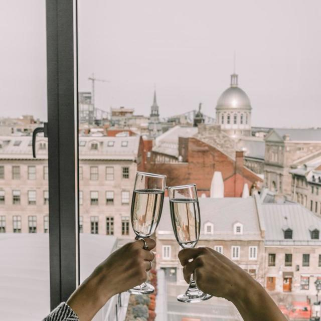Champagne toast over Montreal
