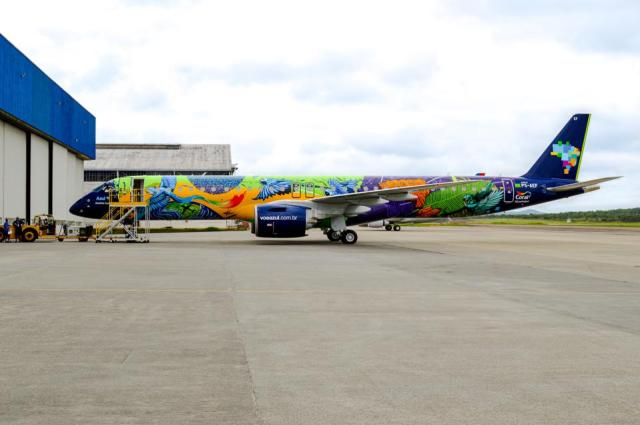 Colorful jungle livery of a new commercial airliner.