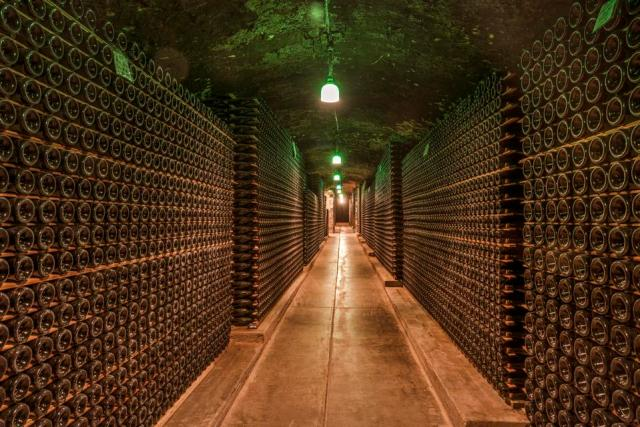 One of the wine-cellar caves at the Schramsberg Vineyard winery in California Napa Valley
