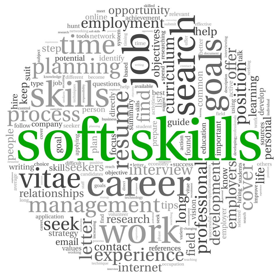 The word soft skills surrounded by business-related words