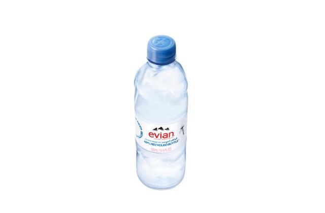 Evian x Virgil Abloh hammered effect bottle design.