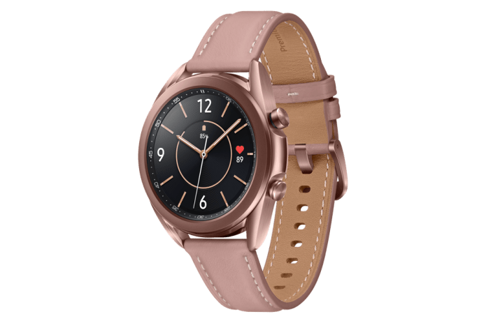 Samsung Galaxy Watch3 in Mystic Bronze.