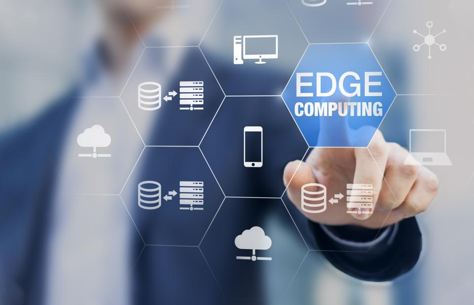 Edge computing technology with distributed network performing computation and data storage near the user instead of in the cloud, internet service for IoT, gamelets and AI recognition, concept