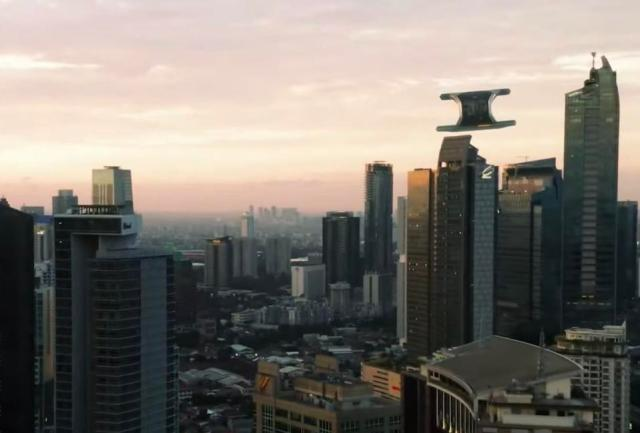 Flying taxi soaring through a city skyscape