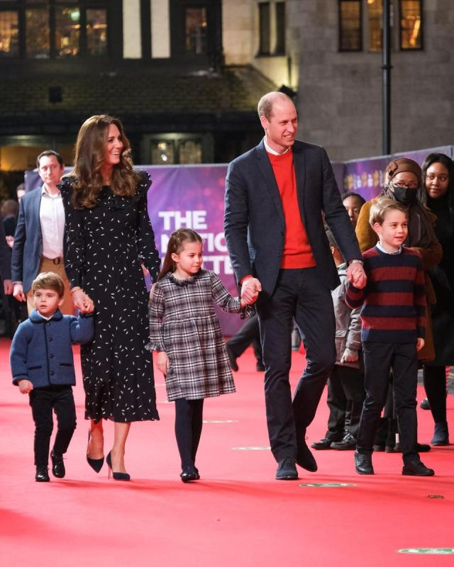 The Duke and Duchess and their family attended a special performance of The National Lottery's Pantoland.