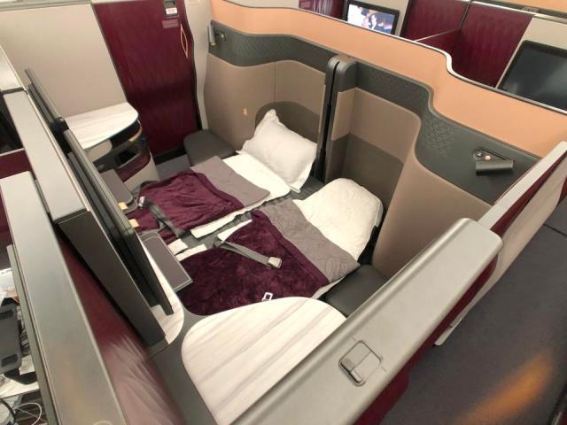 Qatar Airways double bed