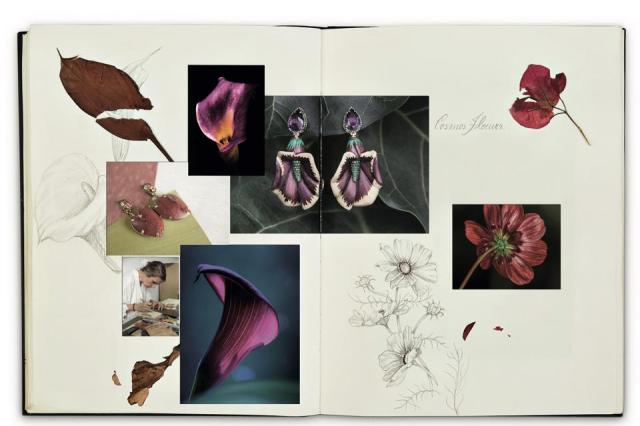 Recreated spread from Silvia Furmanovich's botanical sketchbook