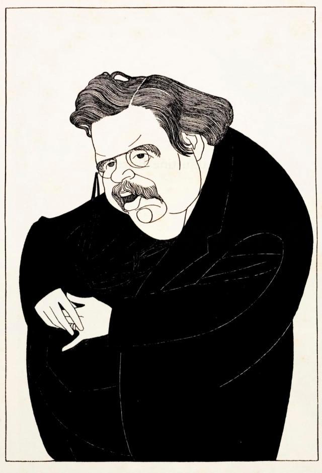 Caricature of English writer Gilbert Keith Chesterton