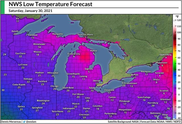 National Weather Service's low temperature forecast on January 30, 2021.