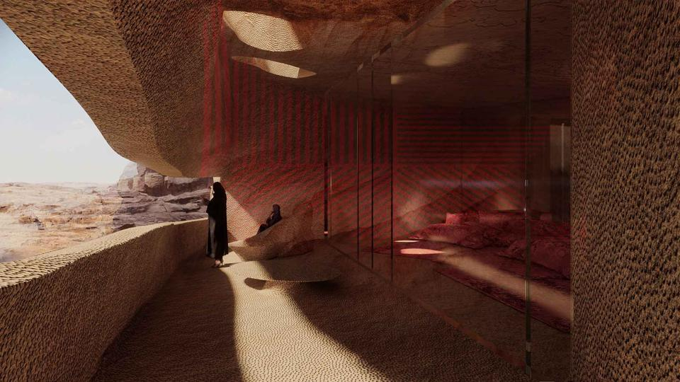 "French Agency for the Development of AlUla (Afalula) Design of one of the resort's rooms with terrace: ""Our design principles will guide us as we explore new typologies that reconcile heritage alongside the subtle transformation of the existing architecture."" Jean Nouvel"
