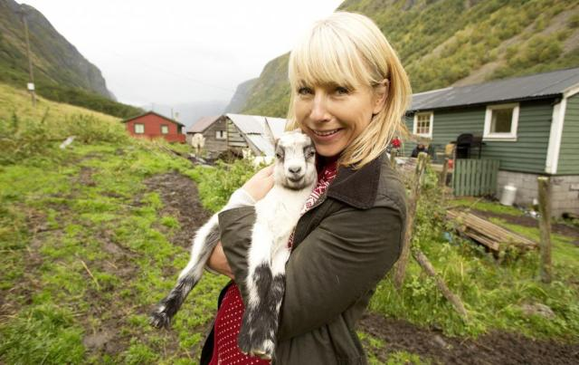Karine Hagen at a goat dairy farm in Undredal, Norway.