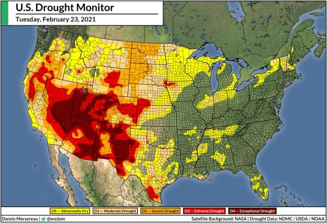 A national map of the U.S. Drought Monitor for Tuesday, February 23, 2021.