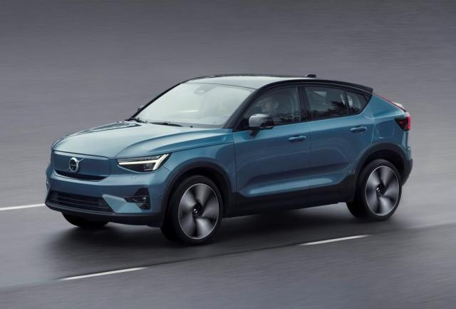 Volvo C40 Recharge all-electric CUV in metallic blue.